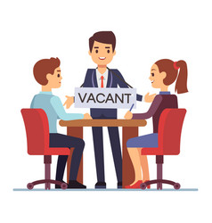 job interview with hr managements man with table vector image