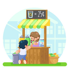 Lemonade booth with happy little cute girl selling vector