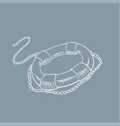 lifebuoy sketch hand drawn vector image