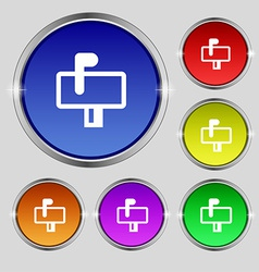 Mailbox icon sign Round symbol on bright colourful vector