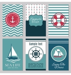 Marine banners or summer nautical invitation cards vector