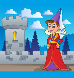 medieval lady theme image 1 vector image