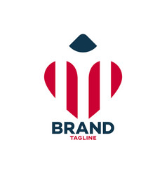 Modern heart and pencil logo vector