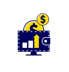 Money falling down in wallet the income increases vector