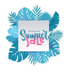 monstera palm leaves summer sale banner design in vector image