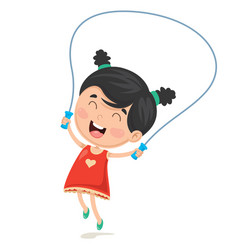 Of kid skipping rope vector