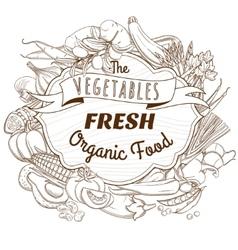 Outline hand drawn sketch vegetable wooden frame vector