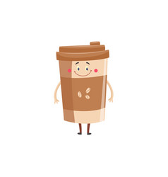 paper cup of coffee cartoon character standing and vector image