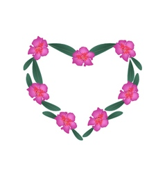 Pink Rhododendron Flowers in Heart Shape Frame vector