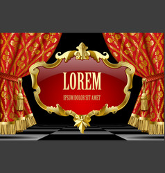 red curtains with classic ornament and decorative vector image