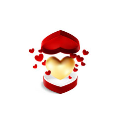red heart open box with flying golden and red vector image