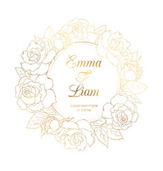 Rose floral wreath luxury gold wedding invitation vector