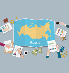 russia country growth nation team discuss with vector image