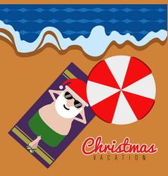 Santa claus relaxin on the beach christmas vector