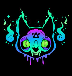 scary multicolored cat skull in ghost flame vector image
