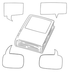set of book and speech bubble vector image