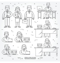 Set of business man and woman vector image