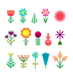 Set of flat simple color flowers vector