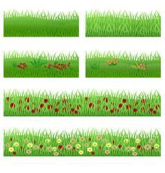 Set of garden flowers in grass vector