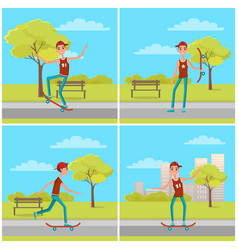 set of posters with skateboarder background bench vector image