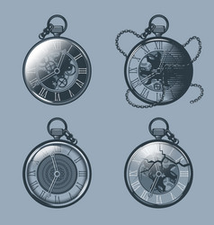 Set of vintage pocket watches monochrome tattoo vector