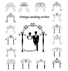 set vintage chuppah archjewish jewish wedding vector image