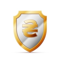 Shield with hryvnia sign vector