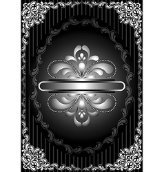 Silver frame with openwork decor on striped black vector