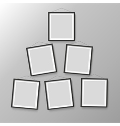 Six wooden black photo picture frames vector image