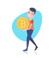 Smiling man character holding bitcoin mining vector