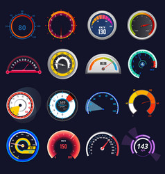 Speedometer car speed dashboard panel and vector
