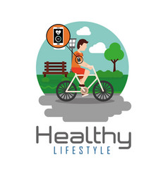 Sport man riding bike in the park healthy vector