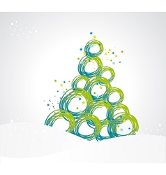 stylized Christmas tree from ribbons circles vector image