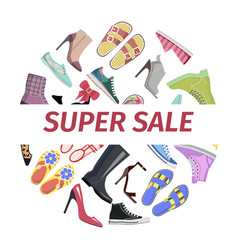 Supper summer shoes sale flat concept vector