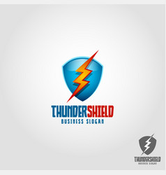 thunder shield logo template vector image