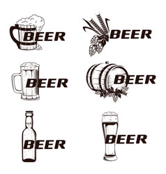 vintage elements of the beer menu set vector image