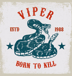 Viper snake on grunge background design element vector