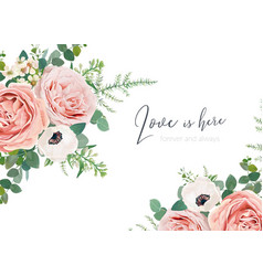 wedding floral invite card greeting banner poster vector image