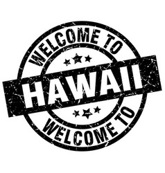 Welcome to hawaii black stamp vector