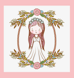 woman wedding with frame and plants leaves vector image