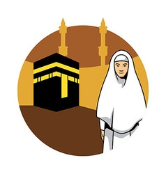 Women Hajj And Kaaba Background vector image