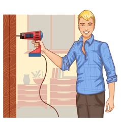 Young handsome man with drill on the background at vector image