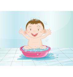 Baby in the bathroom vector image vector image