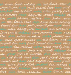 beach lettering seamless pattern vector image vector image