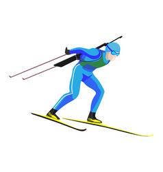 biathlete skier racing down on high speed on skis vector image