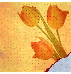 Bouquet of red tulips and a polka dot card EPS 10 vector image
