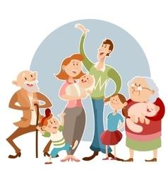 Happy big family vector image
