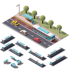 isometric buses set vector image