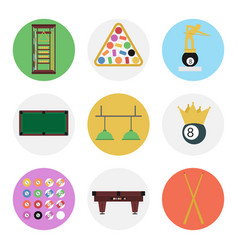 nine color flat billiards icon set vector image