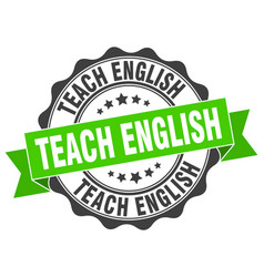 teach english stamp sign seal vector image vector image